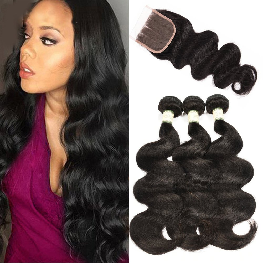 MORICHY Hair Brazilian Virgin Hair Body Wave With Lace Closure Human Hair 4 Bundles With Lace Closure Free Part Unprocessed Short Human Hair Weaves 50g/pc Natural Color Full Head 8 8 8 8+8 Nico Hair