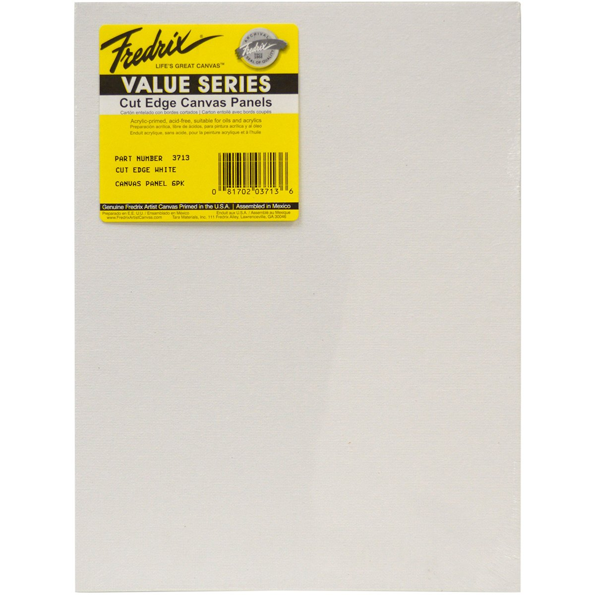 11 by 14, Pack of 6 Fredrix Art Canvas Tara Cut Edge Canvas Panel