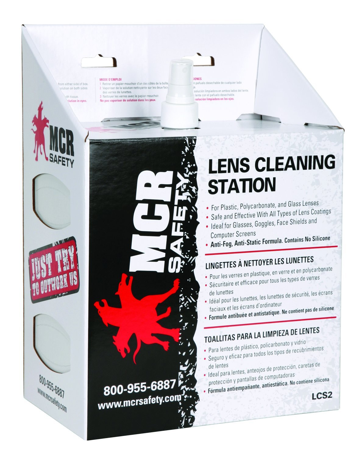 MCR Safety LCS2 Lens Cleaning Station with 16-Ounces Cleaning Solution, 1 Box of 300 Tissues