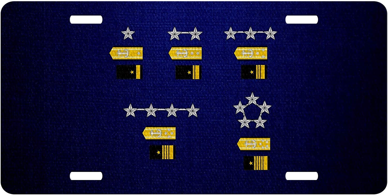 ExpressItBest High Grade 6in x 12 in Aluminum License Plate - US Navy, Officer Rank Insignia (Admirals)