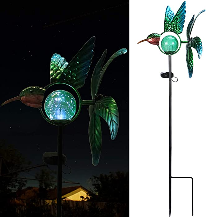 VCUTEKA Solar Wind Spinner Metal Garden Stake Solar Garden Light Outdoor Decorative Wind Sculpture for Yard Pathway Decor