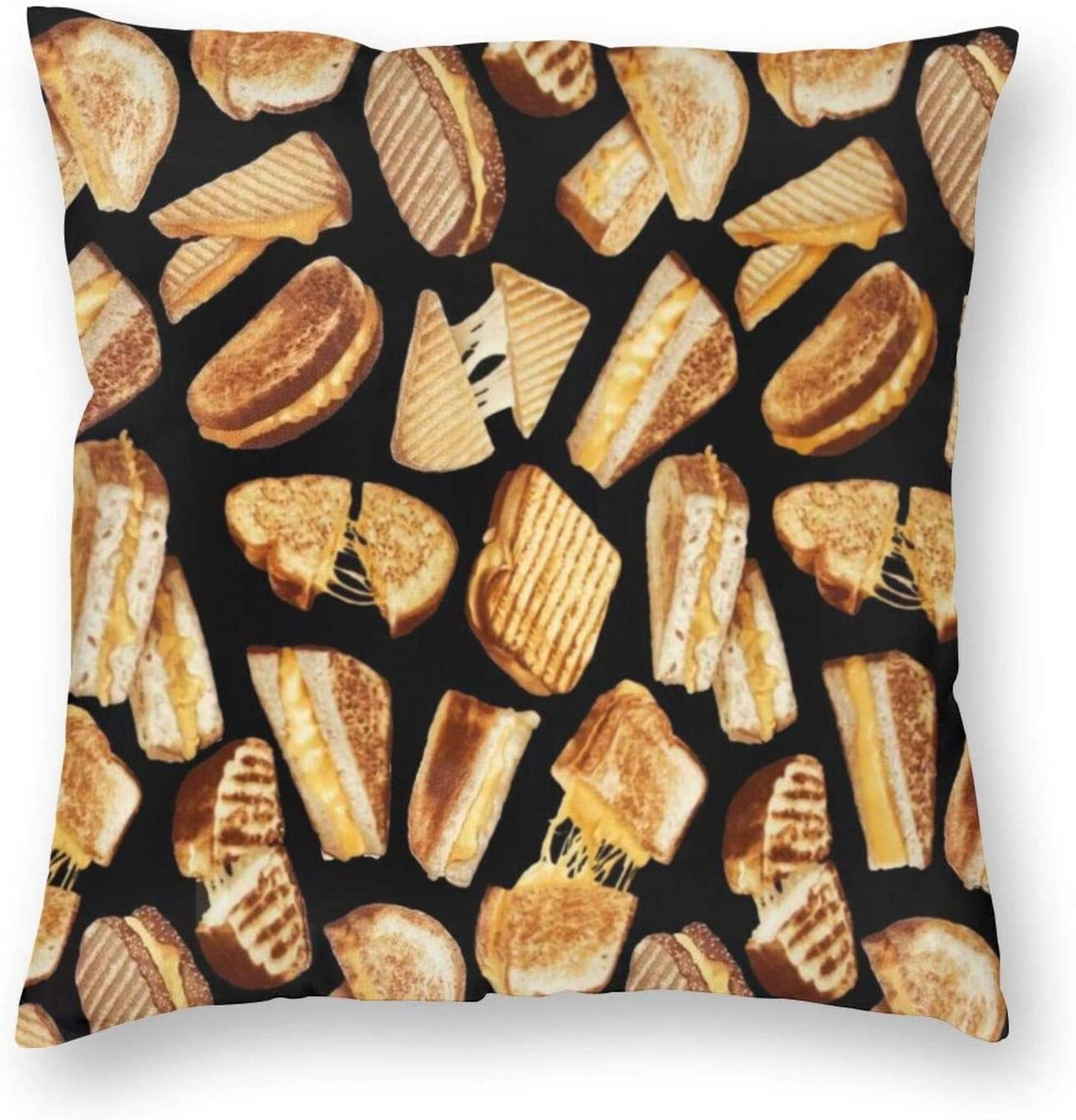 antcreptson Grilled Cheese Pillow Polyester Decor Hidden Zipper Print On Pillowcases Double-Sided Digital Printing Couch Pillowcase Square Sofa Home Decor 18 X 18 Inch (45 X 45cm)