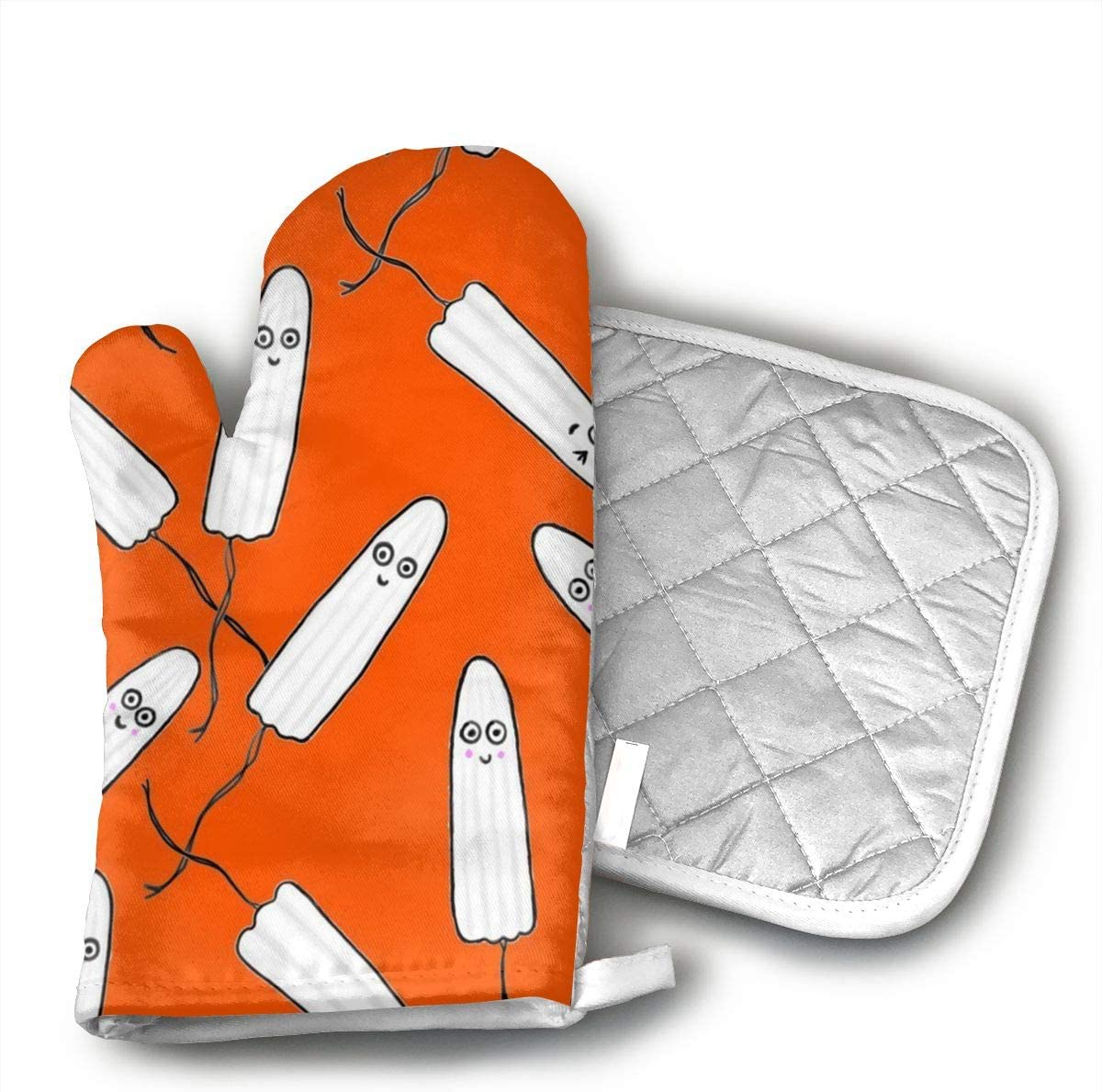 Teuwia Kawaii Tampons Orange Oven Mitts and Pot Holders Baking Oven Gloves Hot Pads Set Heat Resistant for Finger Hand Wrist Protection