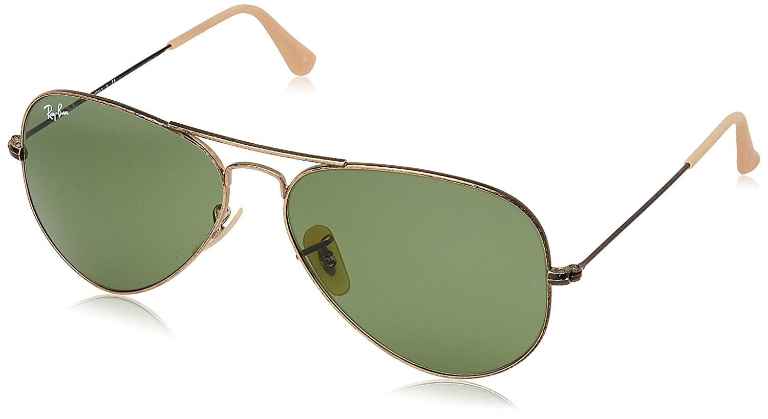 09404dc2fe0b7 Amazon.com  Ray-Ban AVIATOR LARGE METAL - ANTIQUE GOLD Frame GREEN Lenses  58mm Non-Polarized  Clothing