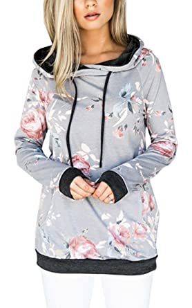 6b12e131d01 Angashion Women Hoodies-Tops- Floral Printed Long Sleeve Pocket Drawstring  Sweatshirt with Pocket 0962