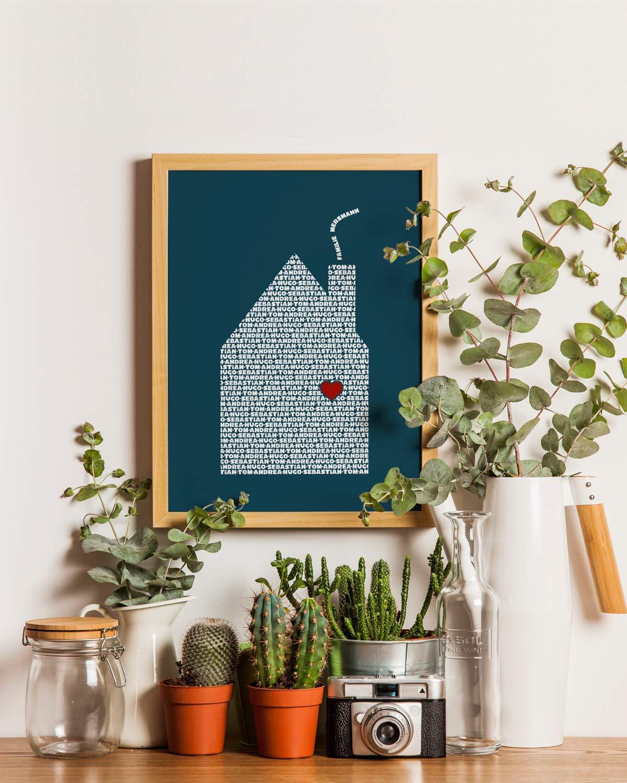Personalisiertes Poster Einweihung Familienbild Tü rschild Geschenk fü r Freunde Geburtstagsgeschenk