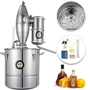 VEVOR 70L/18.5Gal Water Alcohol Distiller 304 Stainless Steel Alcohol Distiller Home Kit Moonshine Wine Making Boiler with Thermometer (70L Distiller)