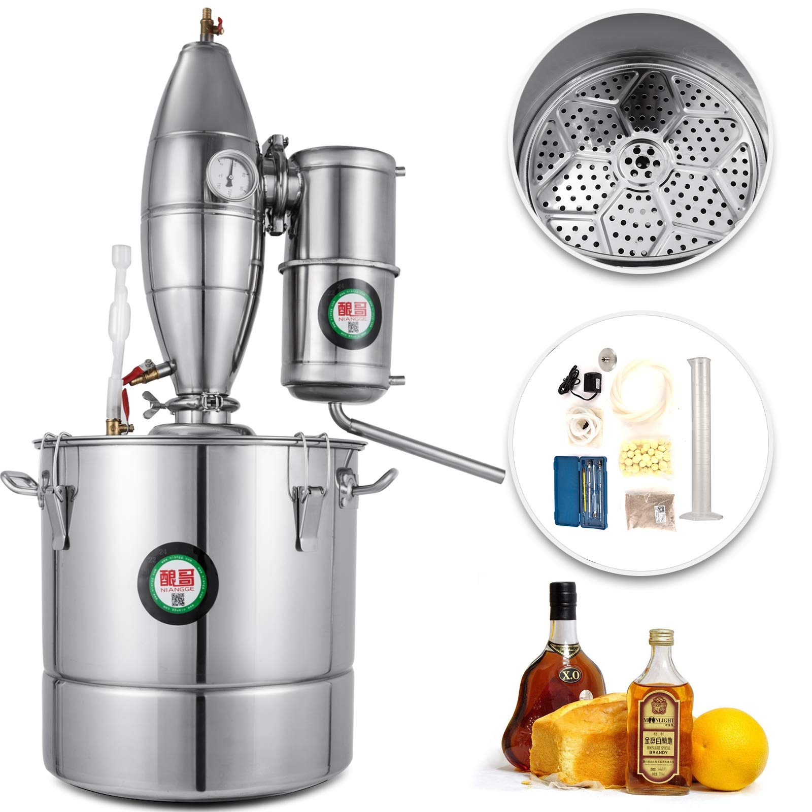VEVOR 70L/18.5Gal Water Alcohol Distiller 304 Stainless Steel Alcohol Distiller Home Kit Moonshine Wine Making Boiler with Thermometer (70L Distiller)