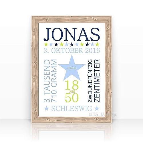 Personalisierte Geburtsanzeige Jonas Geschenk Zur Geburt Taufe