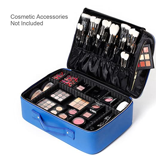 "[Gifts for women] ROWNYEON PU Leather Makeup Bag Portable Makeup Artist Case Professional Makeup Train Case With Adjustable Dividers Best Gift For Girl 16.1"" (Blue Large)…"