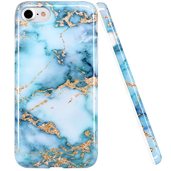 best authentic b8be5 e9e1b Amazon.com: luolnh iPhone 6 6S Case, Blue and Gold Marble Design ...