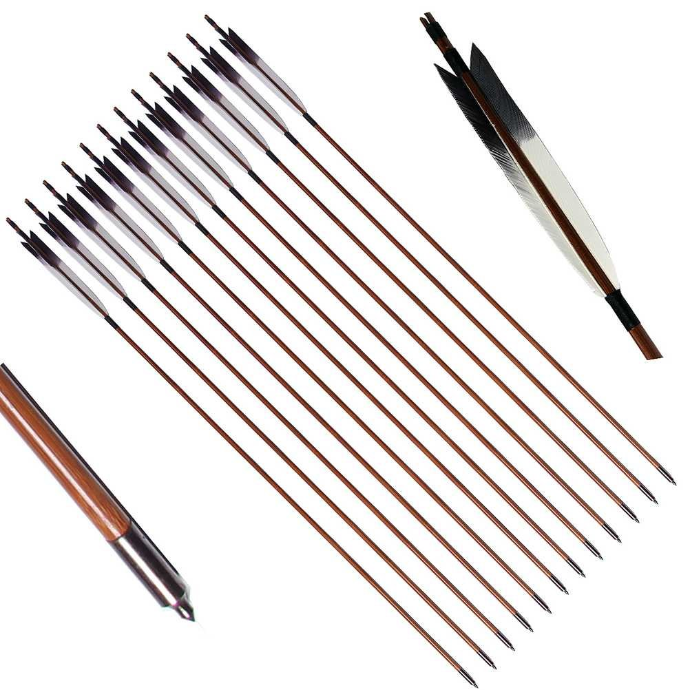 PG1ARCHERY Bamboo Arrows, 12 Pack Practice Target Arrow Handmade Self Nock Feather Fletched 6.2'' Vane for Longbow Traditional & Recurve Bow Gray White by PG1ARCHERY
