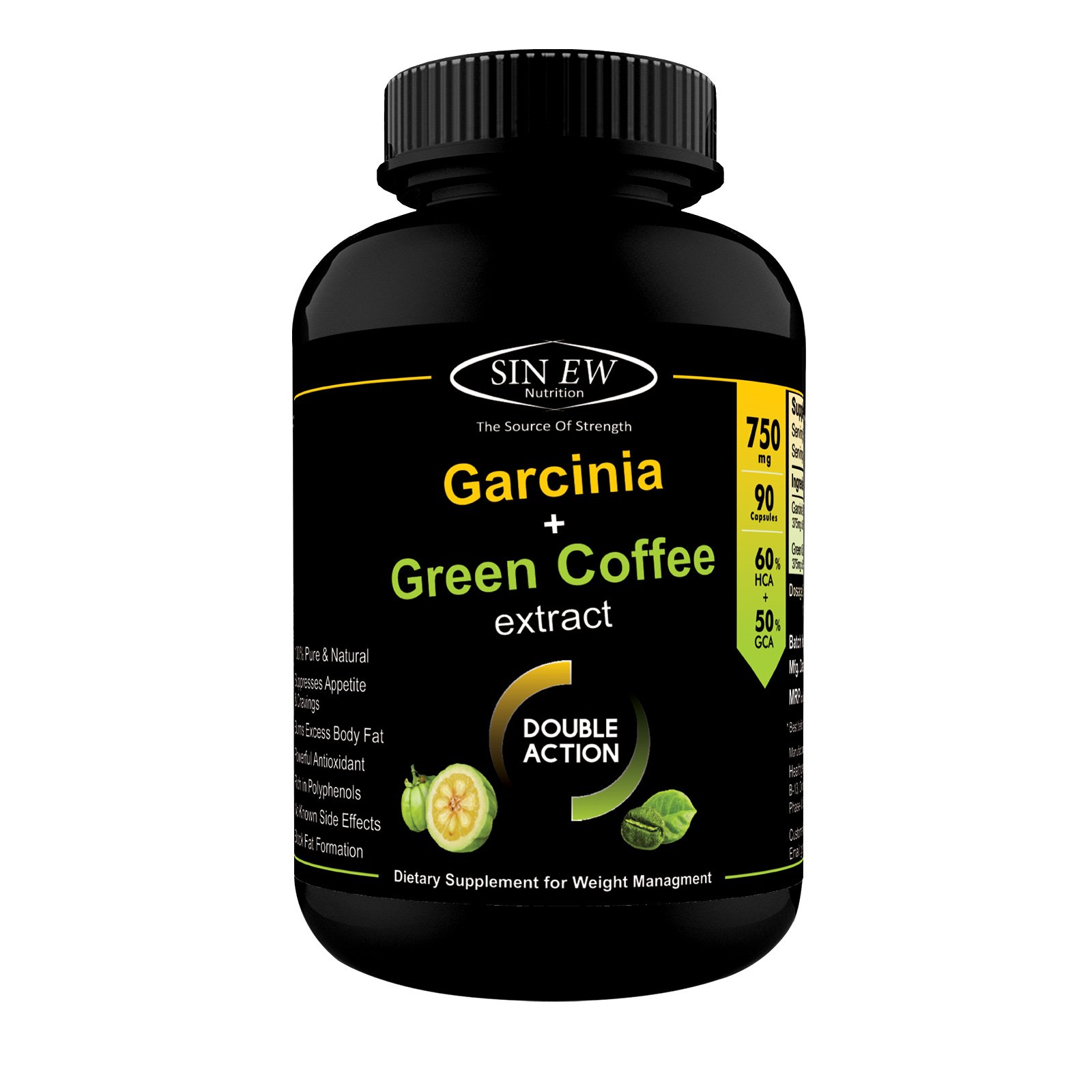 Sinew Nutrition Weight Management Combo 750mg - 90 Pure Veg Capsules (Garcinia Cambogia and Green Coffee Bean Extract) product image