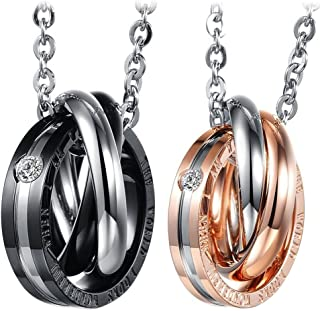 Cupimatch 2PCS Triple Rings Interlocking His& Her Matching Set Stainless Steel Couples Pendant Necklace, 18' & 20' Chain Included 18 & 20 Chain Included C005039