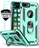 iPhone 8 Plus Case, iPhone 7 Plus Case, iPhone 6 Plus Case with Tempered Glass Screen Protector [2Pack], LeYi Military Grade Phone Case with Rotating Holder Kickstand for Apple iPhone 6s Plus, Mint