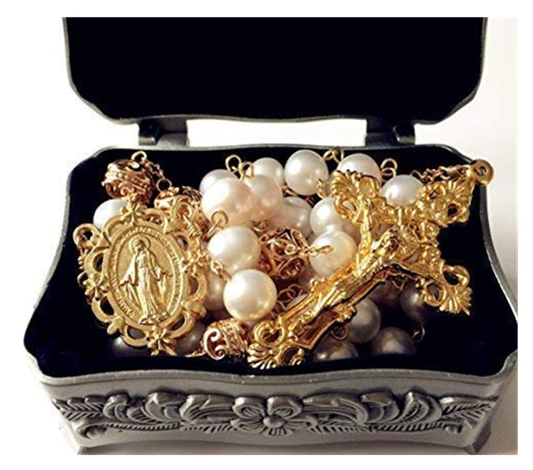 elegantmedical Handmade AAA+ 10MM White Real Pearl & Rose Gold Beads Catholic Gold Rosary Cross Gift Necklace Supper Box