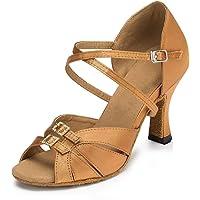 HIPPOSEUS Zapatillas de Baile Latino para Mujer Altura