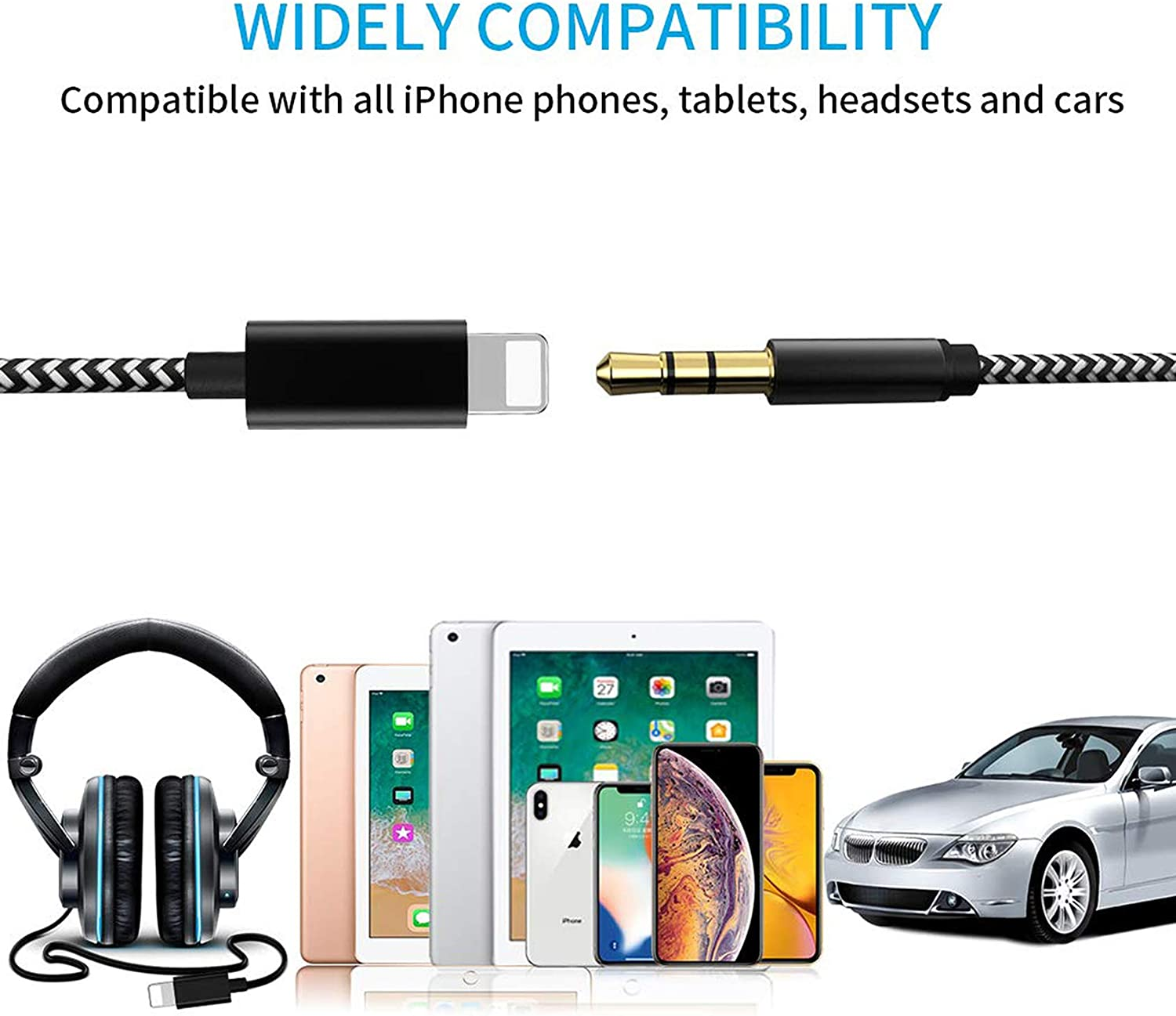 CHOOBY 3.5mm Aux Cable for Car for iPhone X//XR//XS Max//11//11 Pro to Car Stereo Aux Cord for iPhone 8 for Car Upgraded Version Braided Zebra Speaker or Headphone Adapter Support iOS 12