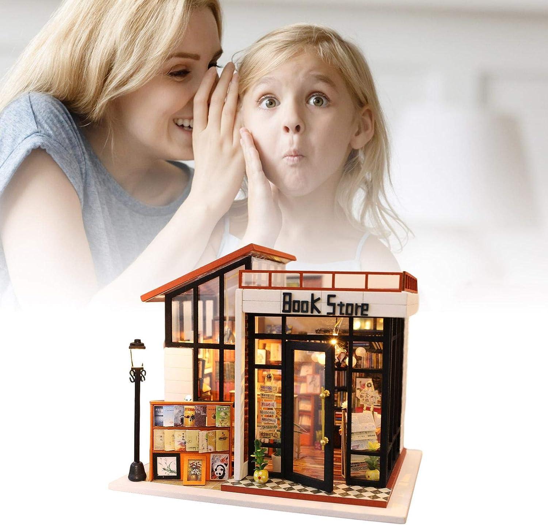 Sala Creativa con Muebles Modelo en Miniatura Hualieli Casa de mu/ñecas Kit de casa de Bricolaje Kit de casa de mu/ñecas m/ás a Prueba de Polvo y Movimiento Musical