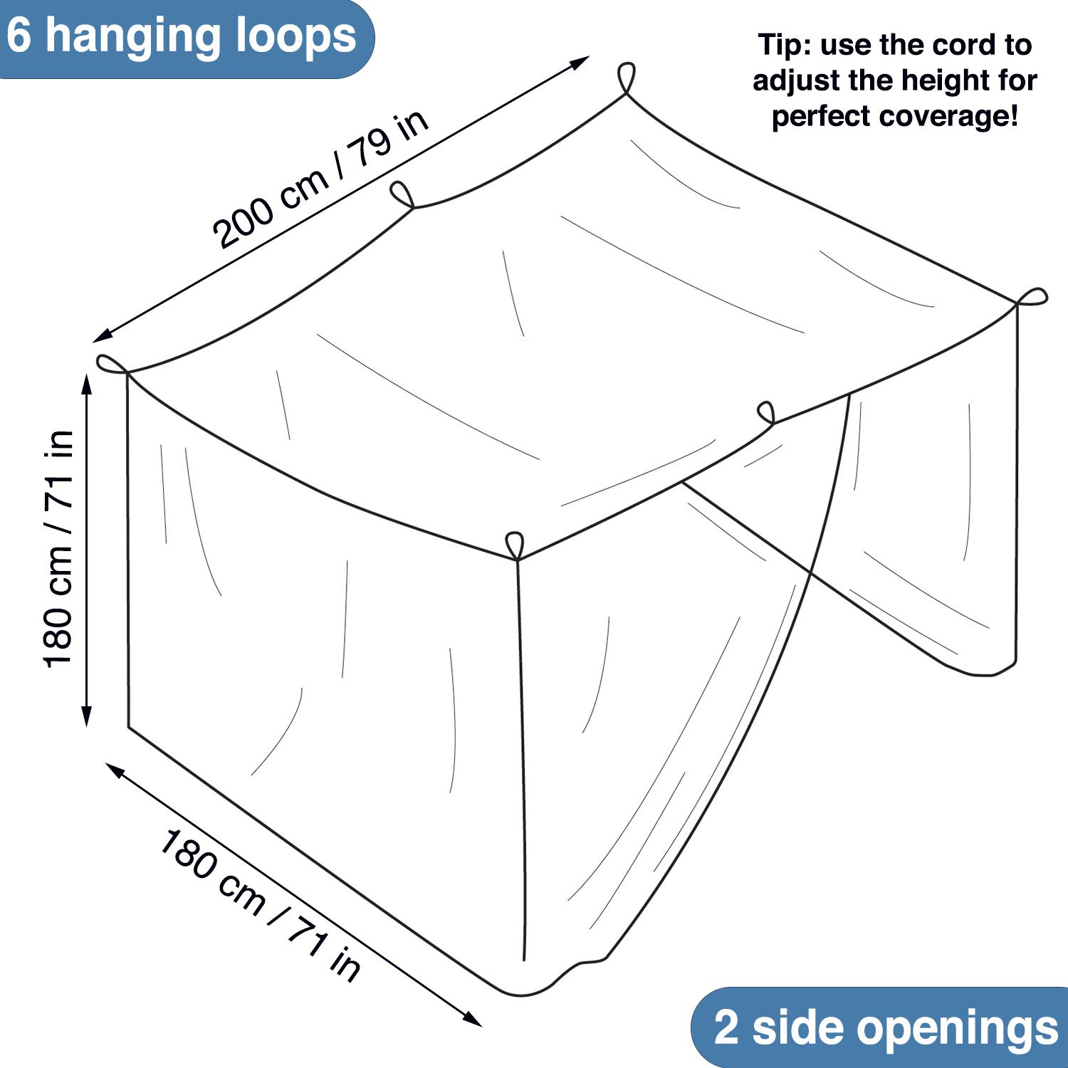 Universal Backpackers Mosquito Net for Double Bed Bed Canopy Hanging Kit /& Carrying Bag Included 6 Hanging Loops /& 2 Side Openings Decorative Rectangular Shape for Home /& Travel