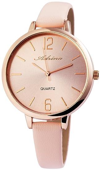 Reloj mujer oro rosa piel analógico de cuarzo reloj de pulsera