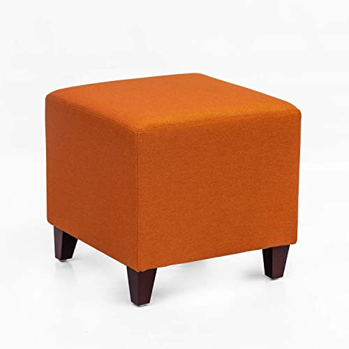 Homebeez Square Ottoman Footrest Stool, Small Fabric Cube Bench Shoe Dressing Seat, Accent Furniture for Living Room