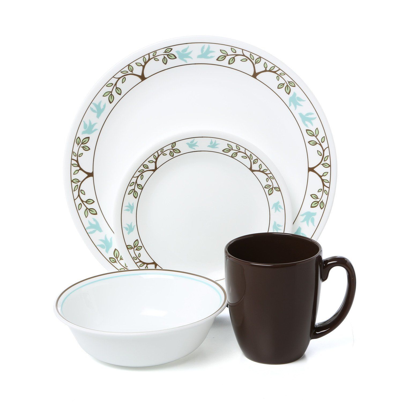 Amazon.com | Corelle Livingware 16-Piece Dinnerware Set, Tree Bird, Service  for 4: Dinnerware Sets: Dinnerware Sets