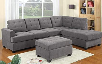 Peachy Modern Sectional Sofa Set With Chaise Lounge For Living Room L Shape Home Furniture 4 Seat With Ottoman Grey Andrewgaddart Wooden Chair Designs For Living Room Andrewgaddartcom
