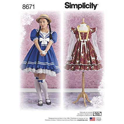 Amazon.com: Simplicity Pattern 8671 P5 Misses\' Lolita Costume ...