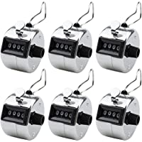 Foraineam 6 Pack Metal Hand Tally Counter Digital Lap Counter Clicker Handheld Mechanical Number Click Counters