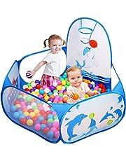 Likorlove - Tienda de campaña para pelotas de golf para niños con aro de baloncesto y bolsa de almacenamiento con cremallera, piscina de bolas de mar de 4 pies para interior y exterior (bolas no incluidas)