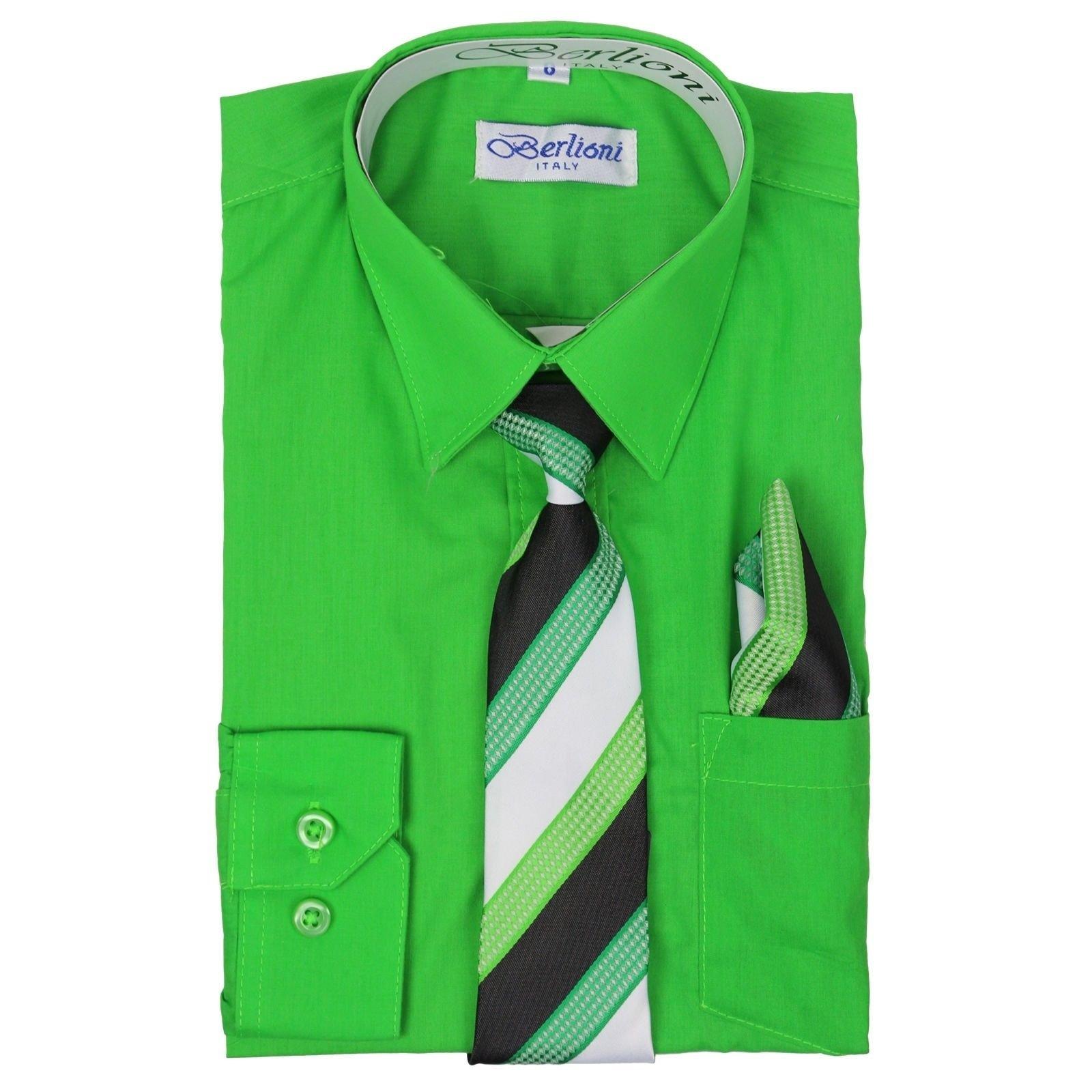 Berlioni Boys Italian Long Sleeve Dress Shirt with Tie & Hanky-Apple Green-4