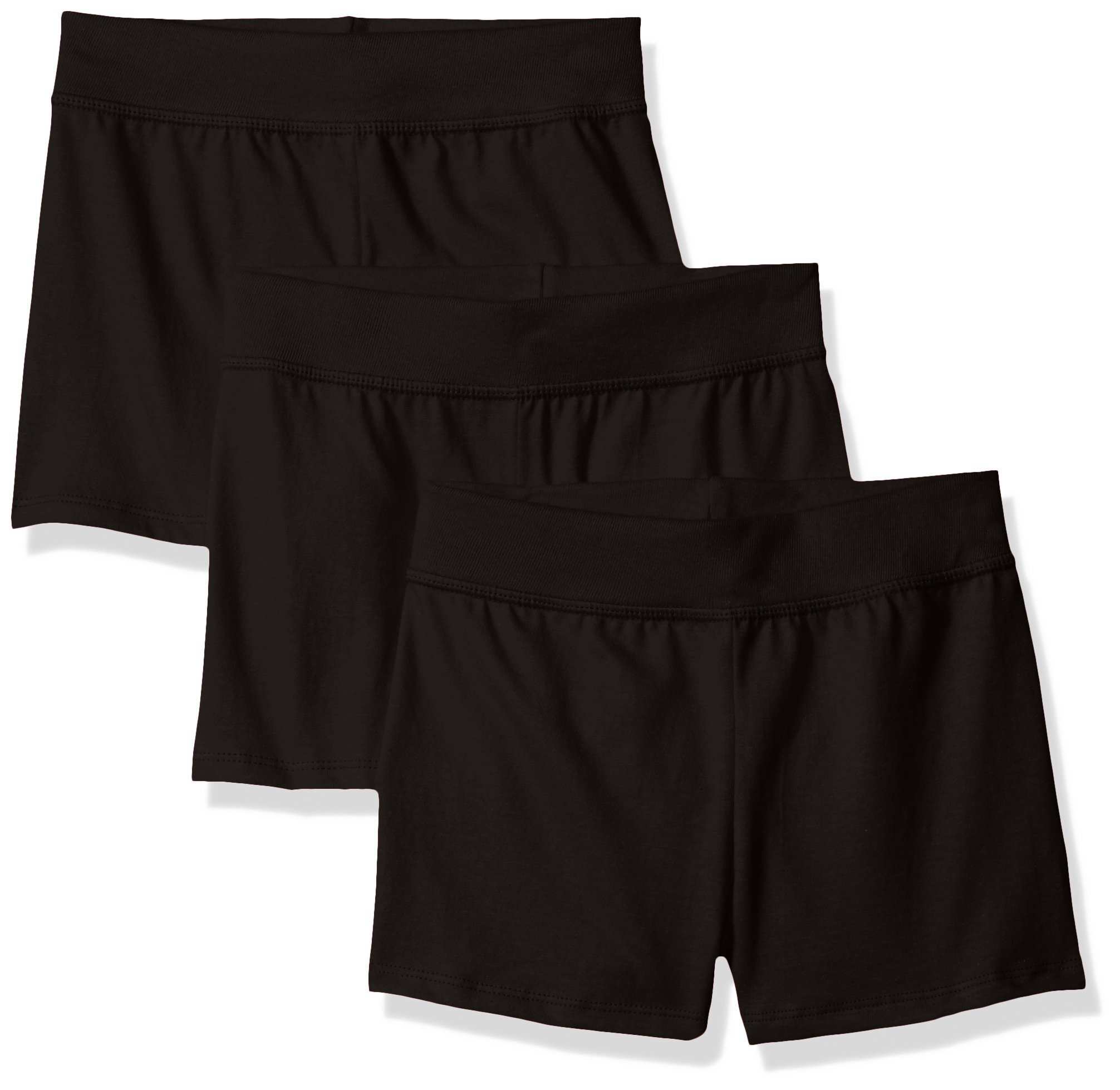 Hanes Little Girls' Jersey Short (Pack of 3), Ebony, Large by Hanes (Image #1)