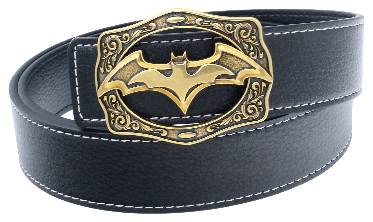 Mens Designer Batman Style Leather Belt Antique Buckle