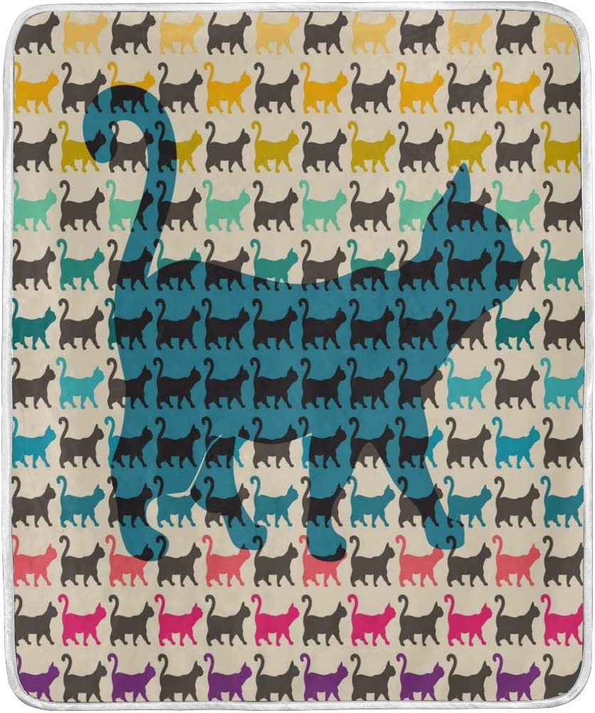 Amazon Com Alaza Abstract Colorful Cat Silhouette Blanket Soft Warm Cozy Bed Couch Lightweight Polyester Microfiber Blanket Throw Size 50 W X 60 L For Kids Women Boy Home Kitchen