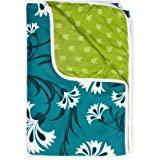 Divine Casa Natty Floral Microfibre Reversible Single Dohar/Blanket -Turquoise Blue and Lime Green