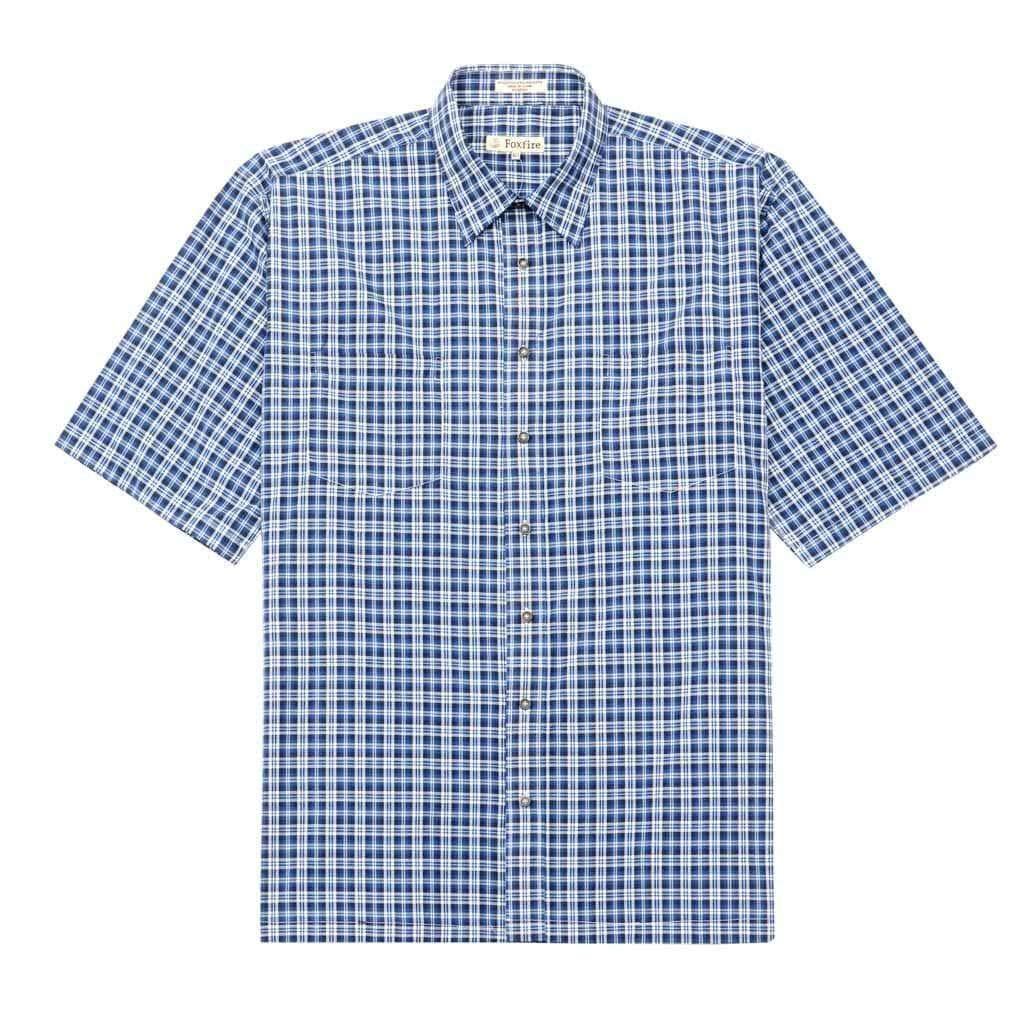 Fox Fire Mens Short Sleeve Button Up Relaxed Fit Plaid Shirt