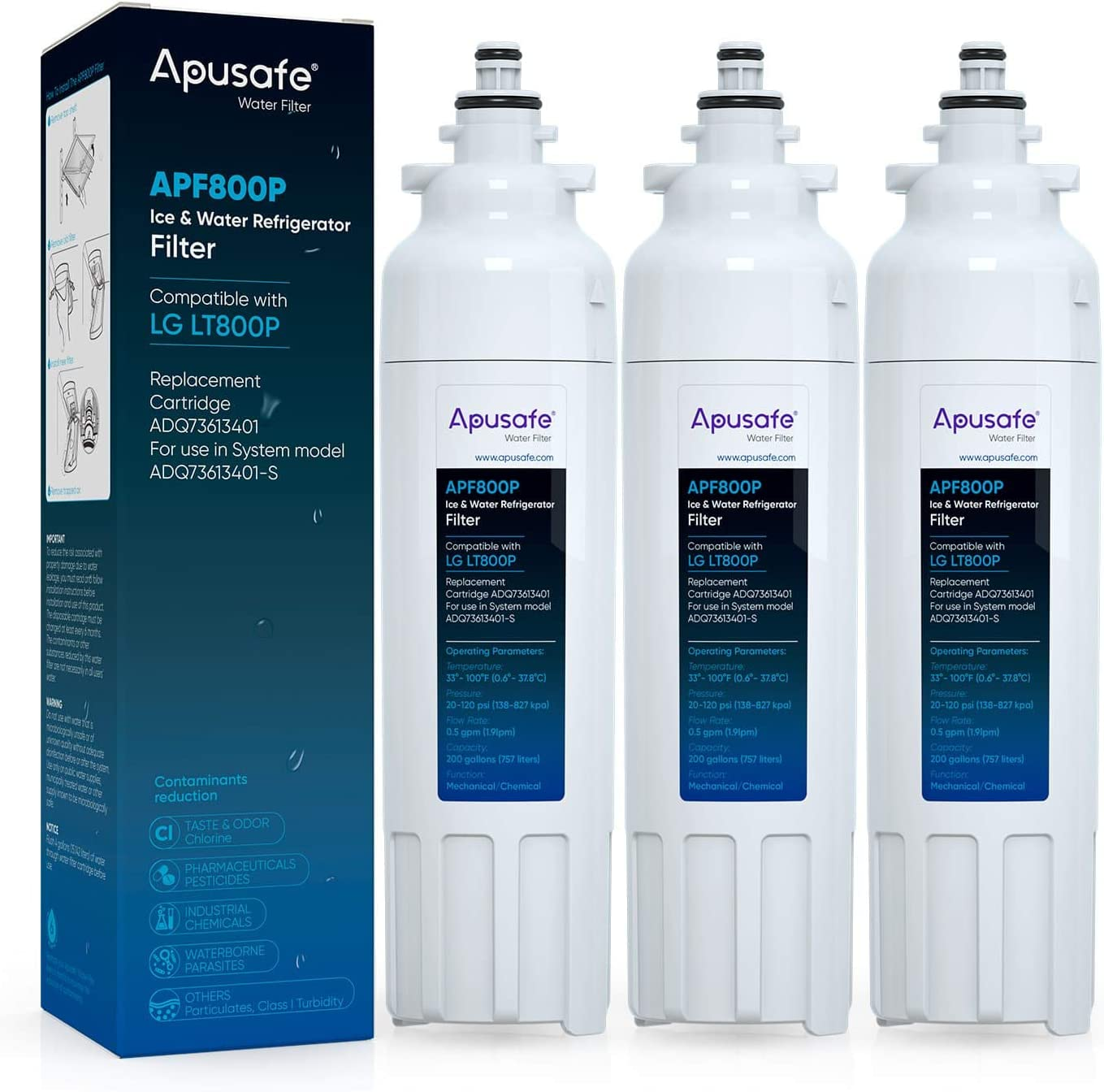 LT800P Refrigerator Water Filter Replacement Compatible with ADQ73613401, Kenmore 46-9490, 9490, LG LT800P, ADQ73613402, ADQ36006102, LSXS26326S, LMXC23746S, LSXS26366S, LMXC23746D, 3 Pack