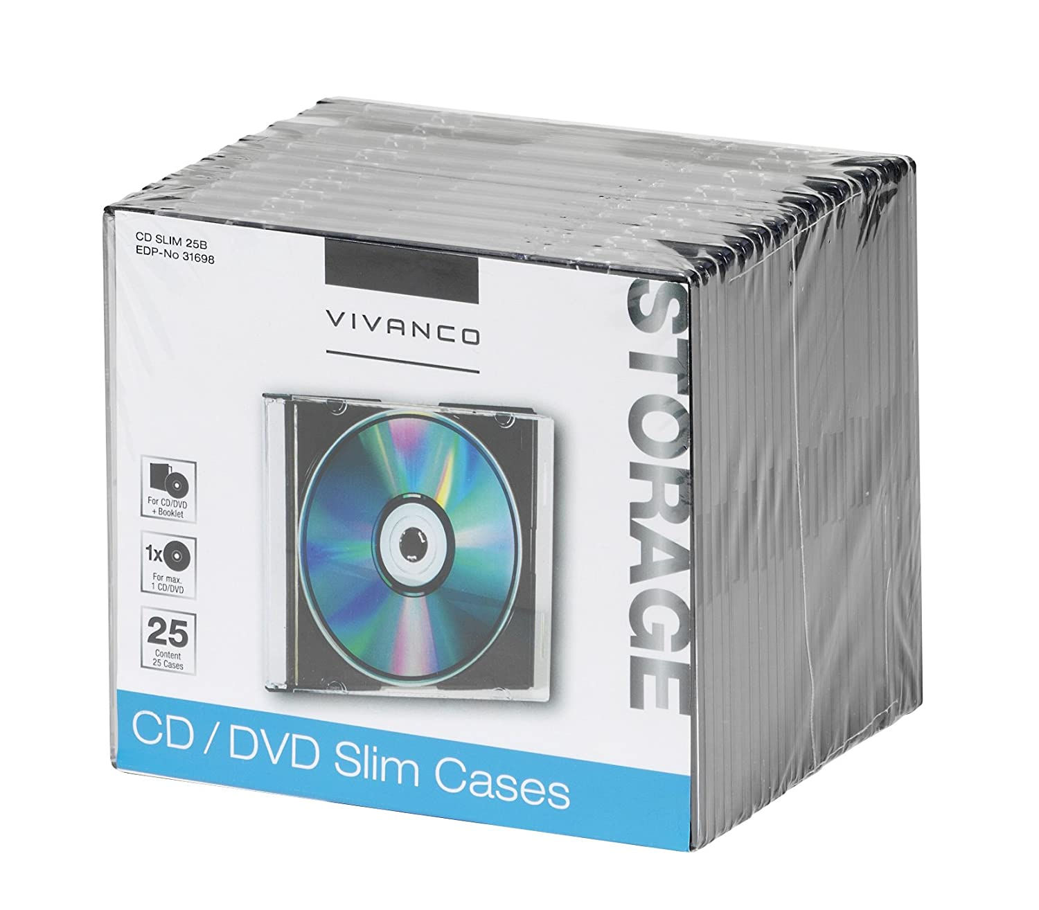 Vivanco - Carcasa para CD/DVD (25 unidades) transparente