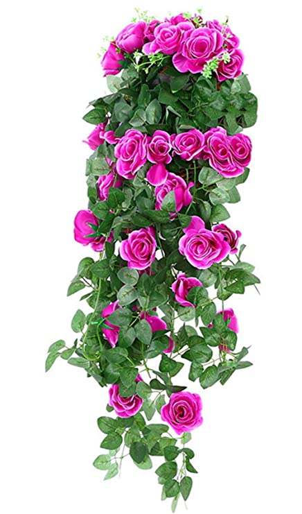 Amazon Wenyujh Artificial Rose Garland Wall Hanging Silk