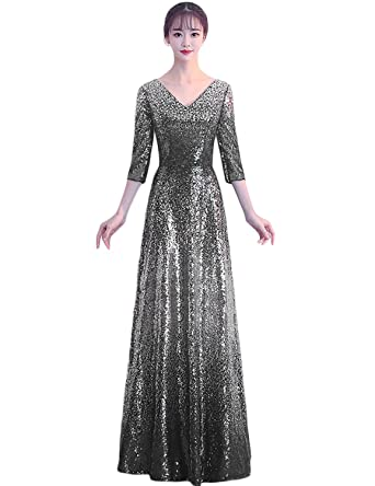 37adbc91d YIRENWANSHA Long Mermaid Empire Waist Sequin Elegant Evening Dress ...