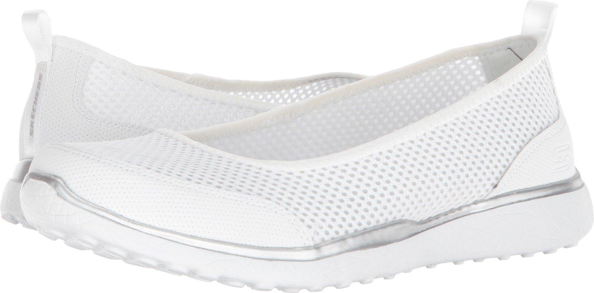 Skechers Sport Women's Microburst-Sudden Look Sneaker,White Slate,8 M US