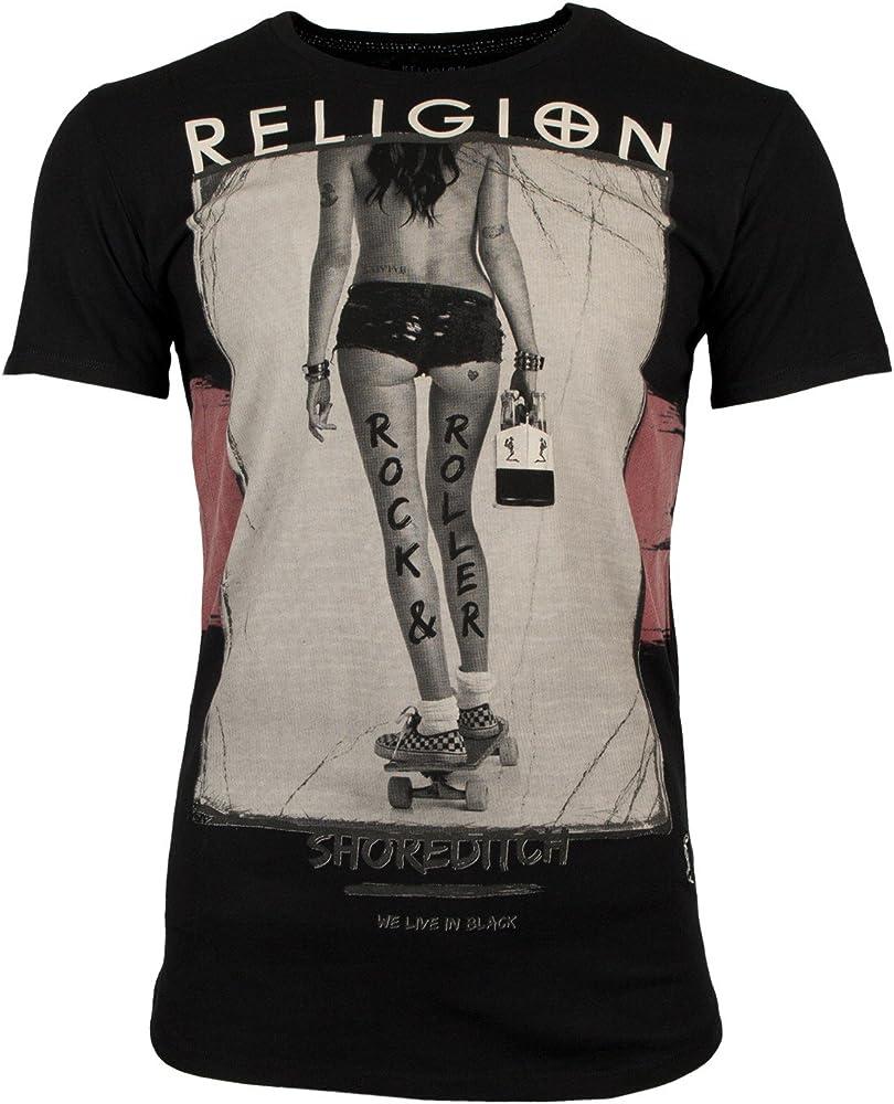 Religion Hombres Camiseta Rock & Rollers - Negro, S: Amazon.es: Ropa y accesorios