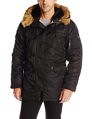 Alpha Industries Men's N-3B Slim-Fit Parka Coat with Removable Faux-Fur Hood Trim (Large, Black/Orange/Brown)