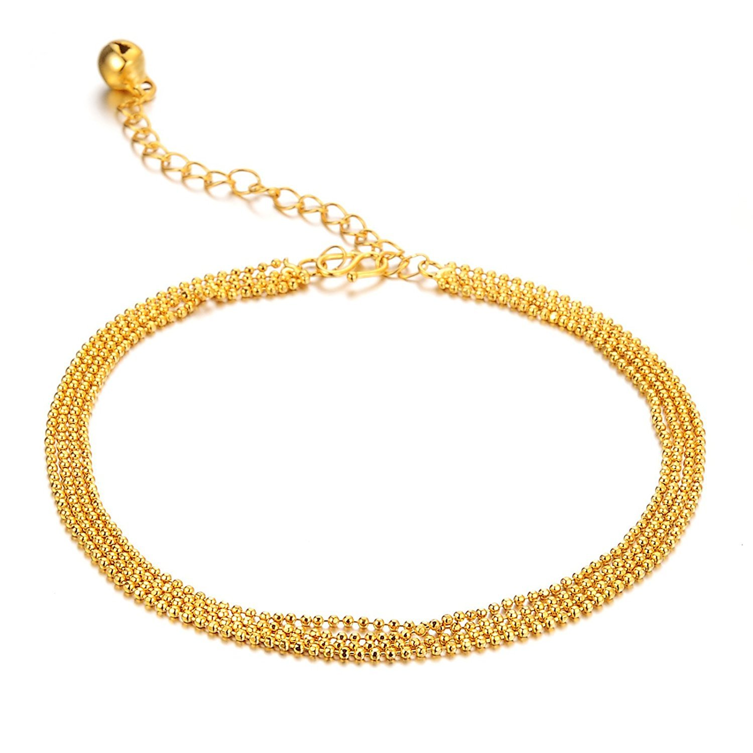 JAJAFOOK Women's Anklet Bracelet 18k Gold Plated 4 Lucky Beads and Bells Pendants Foot Chain