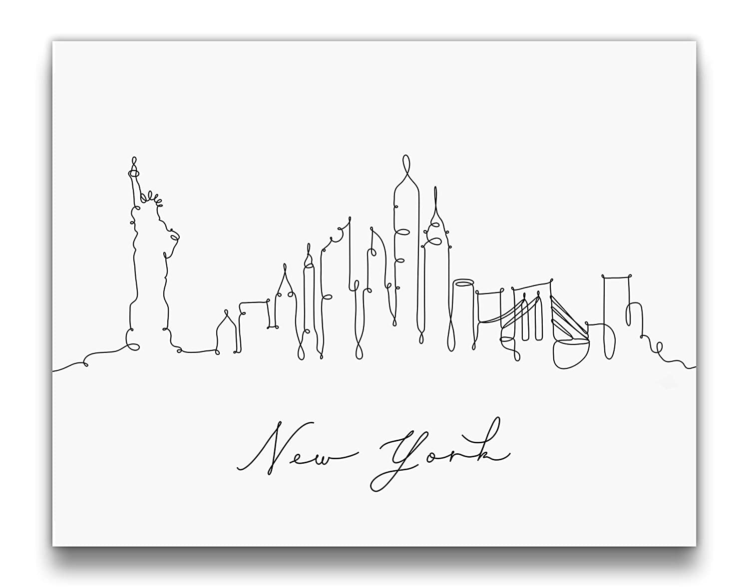 NYC Skyline Pen and Ink Line Drawing Wall Art | Black and White 14x11 UNFRAMED Modern Minimalist Print | New York Cityscape Wall Decor