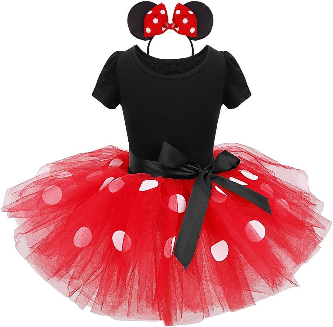 Agoky Vestidos de Princesa Tutú Disfraces Infantil con Diadema Traje de Fiesta Bautizo con Braga Interior para Bebés Niñas (12 Meses a 8 Años)