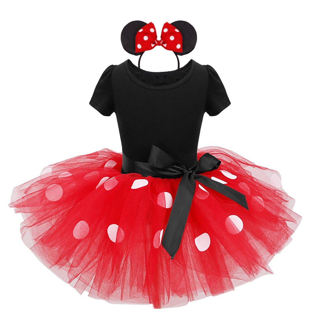 dPois Baby M/ädchen Festlich Kleid Outfit Set Polka Dots Tutu Kleid mit Maus Ohren Haarreif Kinder Prinzessin Kost/üm Halloween Geburtstag Weihnachten Gr.80-128