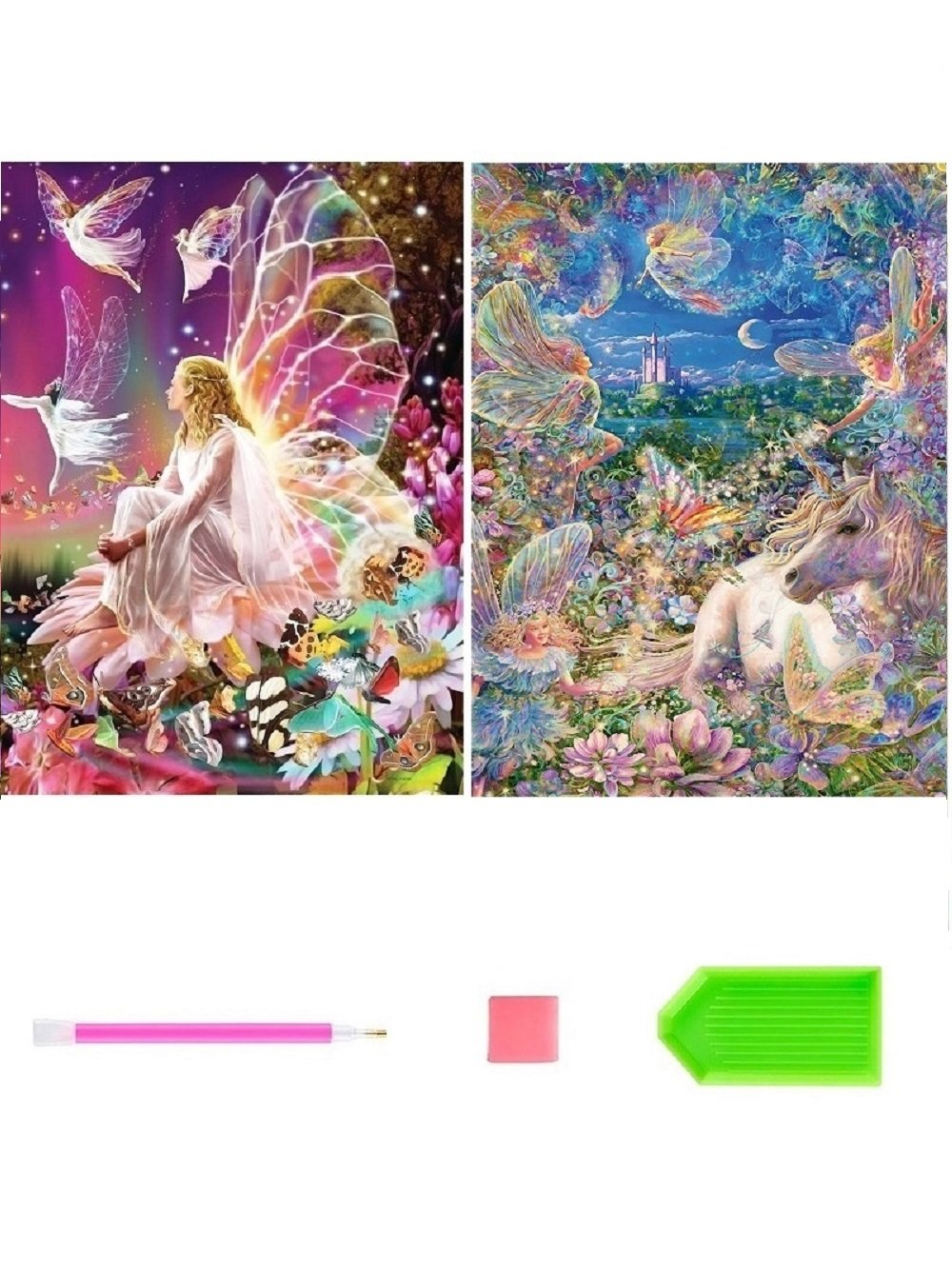 2 Pack 5D Diamond Painting Kits for Adults Kids Diamond Paint by Number Kits,Crystal Rhinestone Diamond Embroidery Paintings Pictures Arts Craft for Home Wall Decor