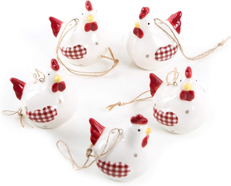 Logbuch-Verlag Lot de 6 Petits pendentifs en Forme de Poulet pour P/âques 4 cm /à Suspendre pour la Boue de P/âques ou comme Pendentif Cadeau Blanc//Rouge Poule